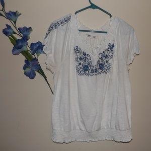 Cato 18/20W White Embroidered Boho Blouse
